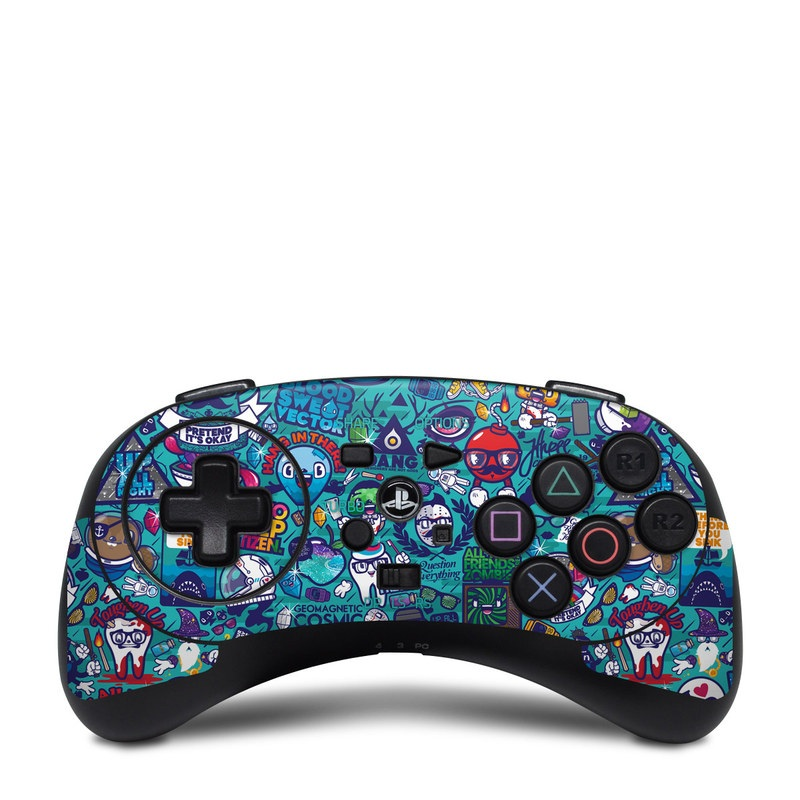 HORI Fighting Commander Skin design of Art, Visual arts, Illustration, Graphic design, Psychedelic art with blue, black, gray, red, green colors