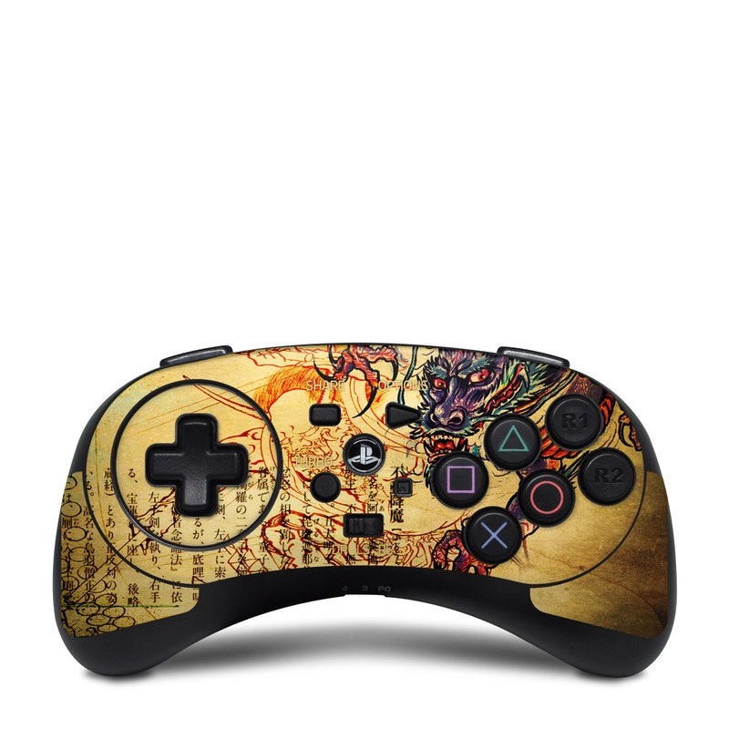 HORI Fighting Commander Skin design of Illustration, Fictional character, Art, Demon, Drawing, Visual arts, Dragon, Supernatural creature, Mythical creature, Mythology with black, green, red, gray, pink, orange colors