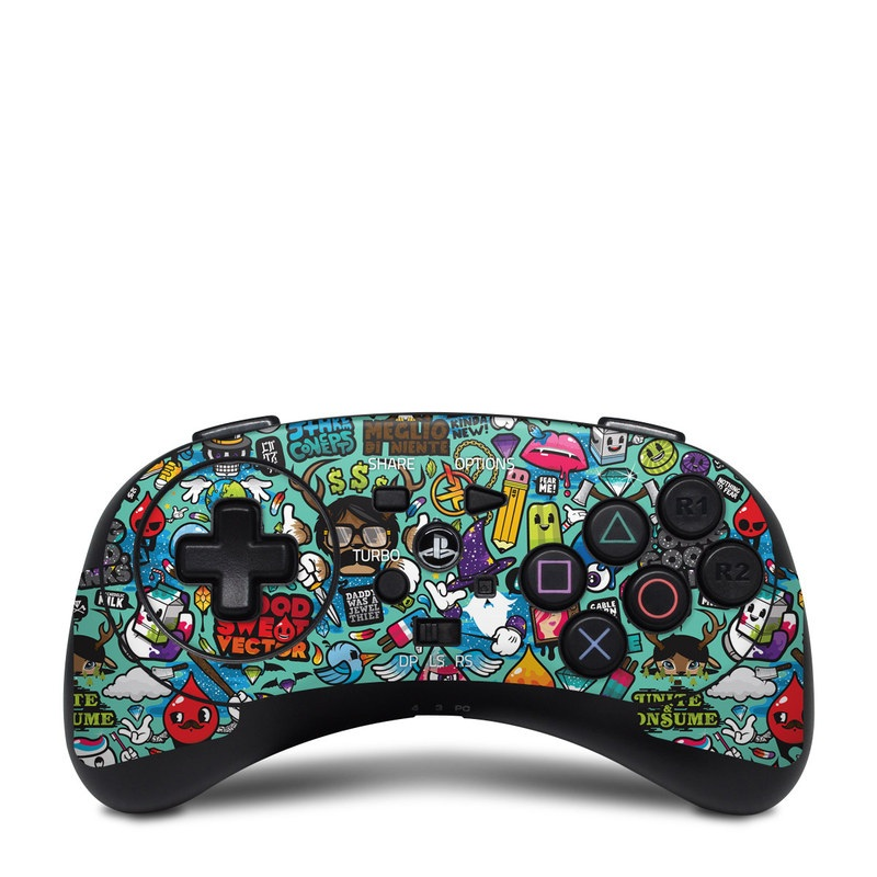 HORI Fighting Commander Skin design of Cartoon, Art, Pattern, Design, Illustration, Visual arts, Doodle, Psychedelic art with black, blue, gray, red, green colors