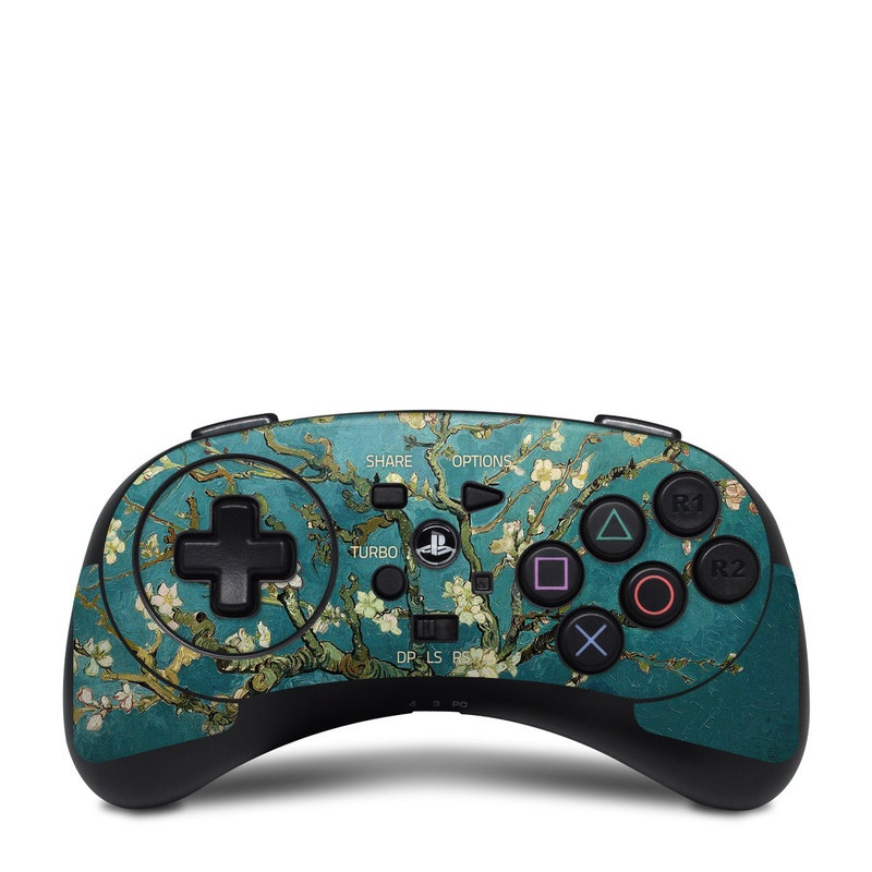 HORI Fighting Commander Skin design of Tree, Branch, Plant, Flower, Blossom, Spring, Woody plant, Perennial plant with blue, black, gray, green colors