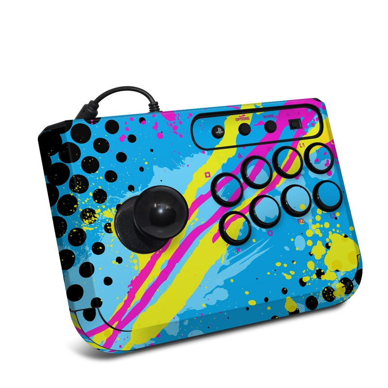 HORI Fighting Stick Mini 4 Skin design of Blue, Colorfulness, Graphic design, Pattern, Water, Line, Design, Graphics, Illustration, Visual arts with blue, black, yellow, pink colors