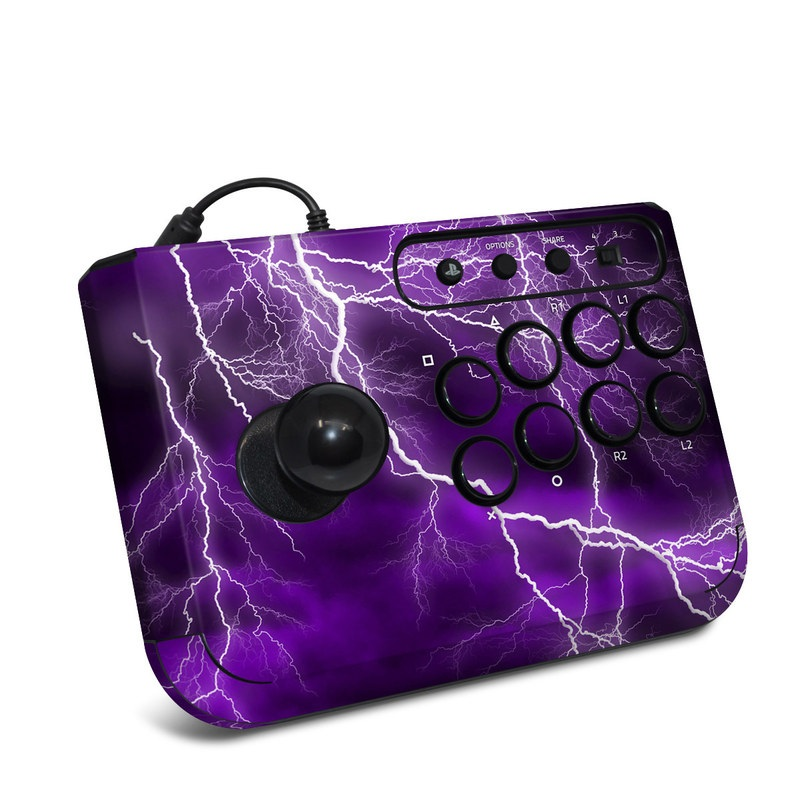 HORI Fighting Stick Mini 4 Skin design of Thunder, Lightning, Thunderstorm, Sky, Nature, Purple, Violet, Atmosphere, Storm, Electric blue with purple, black, white colors