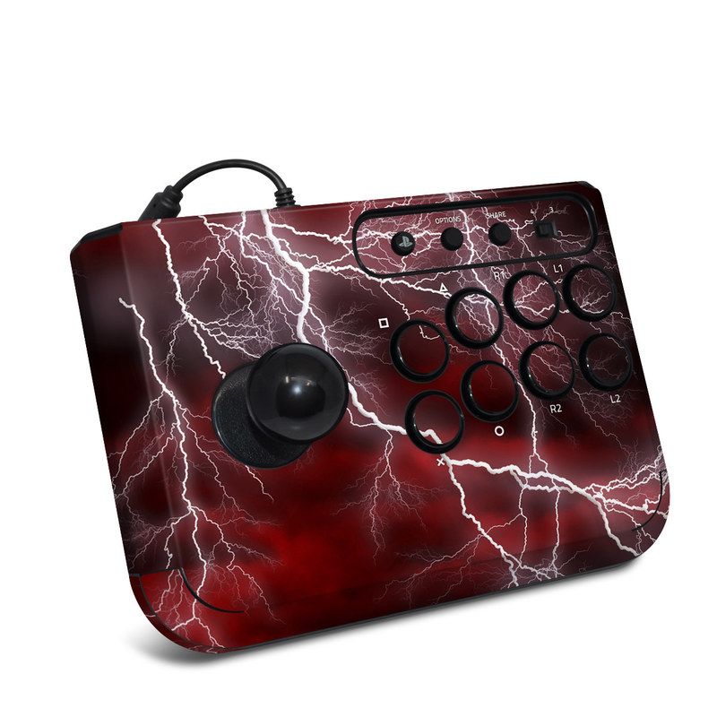 HORI Fighting Stick Mini 4 Skin design of Thunder, Thunderstorm, Lightning, Red, Nature, Sky, Atmosphere, Geological phenomenon, Lighting, Atmospheric phenomenon with red, black, white colors
