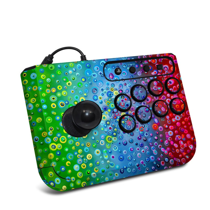 HORI Fighting Stick Mini 4 Skin design of Water, Blue, Colorfulness, Liquid bubble, Pattern, Drop, Circle with red, blue, green, yellow, purple colors