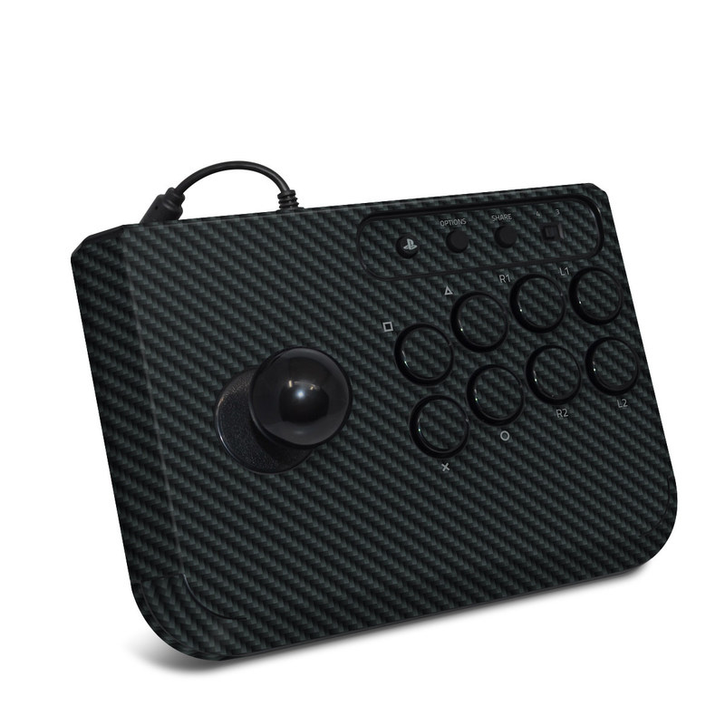 HORI Fighting Stick Mini 4 Skin design of Green, Black, Blue, Pattern, Turquoise, Carbon, Textile, Metal, Mesh, Woven fabric with black colors