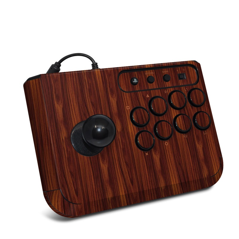 HORI Fighting Stick Mini 4 Skin design of Wood, Red, Brown, Hardwood, Wood flooring, Wood stain, Caramel color, Laminate flooring, Flooring, Varnish with black, red colors