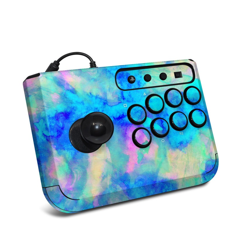 HORI Fighting Stick Mini 4 Skin design of Blue, Turquoise, Aqua, Pattern, Dye, Design, Sky, Electric blue, Art, Watercolor paint with blue, purple colors