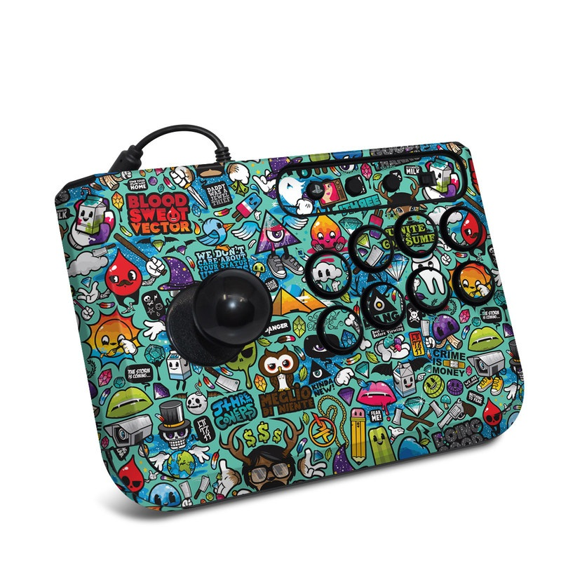 HORI Fighting Stick Mini 4 Skin design of Cartoon, Art, Pattern, Design, Illustration, Visual arts, Doodle, Psychedelic art with black, blue, gray, red, green colors