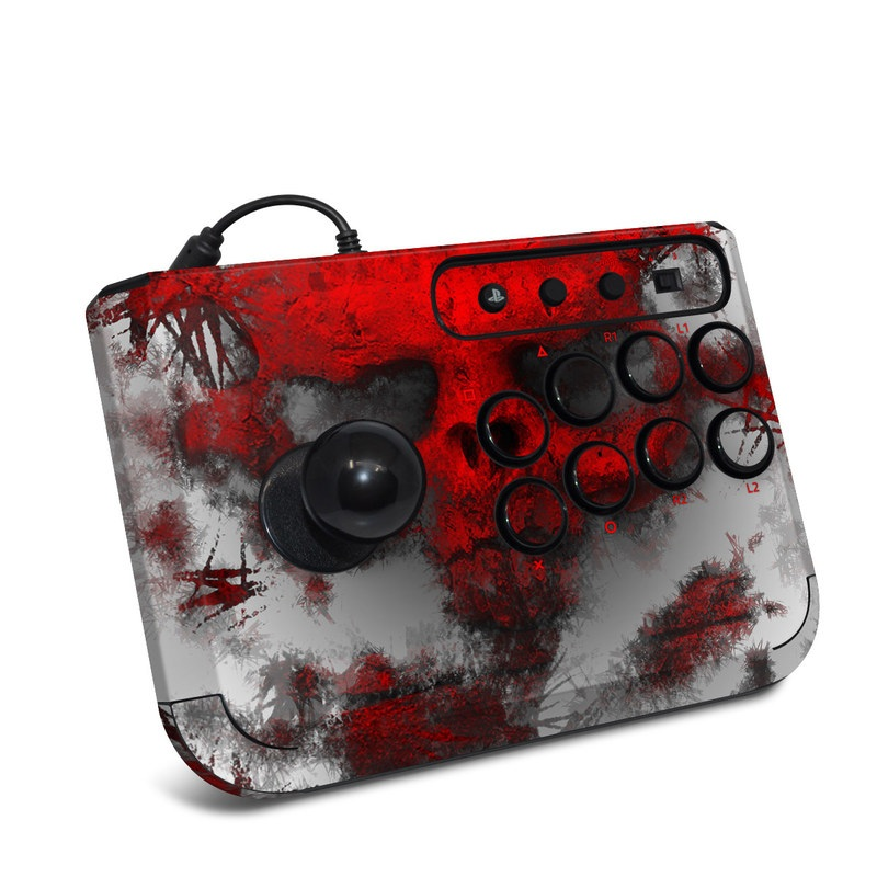 HORI Fighting Stick Mini 4 Skin design of Red, Graphic design, Skull, Illustration, Bone, Graphics, Art, Fictional character with red, gray, black, white colors