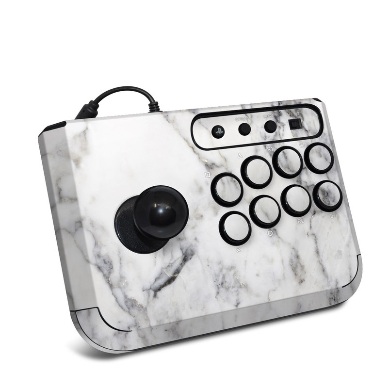 HORI Fighting Stick Mini 4 Skin design of White, Geological phenomenon, Marble, Black-and-white, Freezing with white, black, gray colors