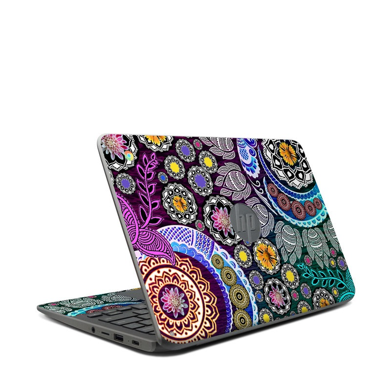 HP Chromebook 11 G7 Skin design of Pattern, Psychedelic art, Art, Visual arts, Design, Floral design, Textile, Motif, Circle, Illustration with black, gray, purple, blue, green, red colors