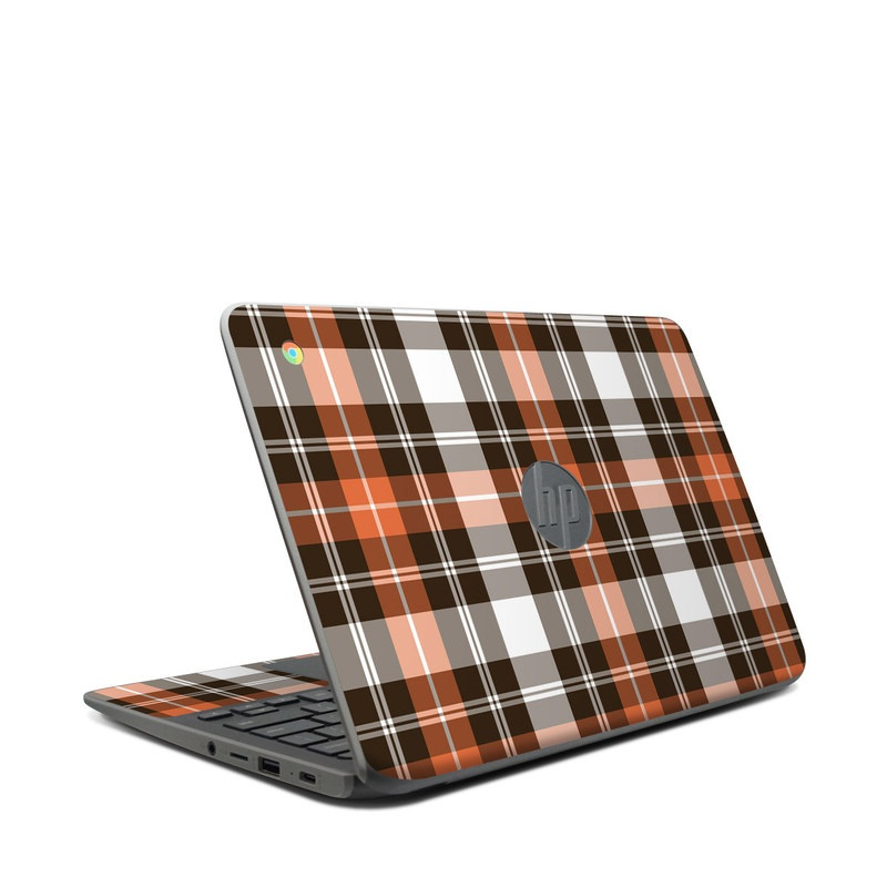 HP Chromebook 11 G7 Skin design of Plaid, Pattern, Tartan, Orange, Brown, Textile, Line, Design, Tints and shades with gray, black, red, white, pink, green colors