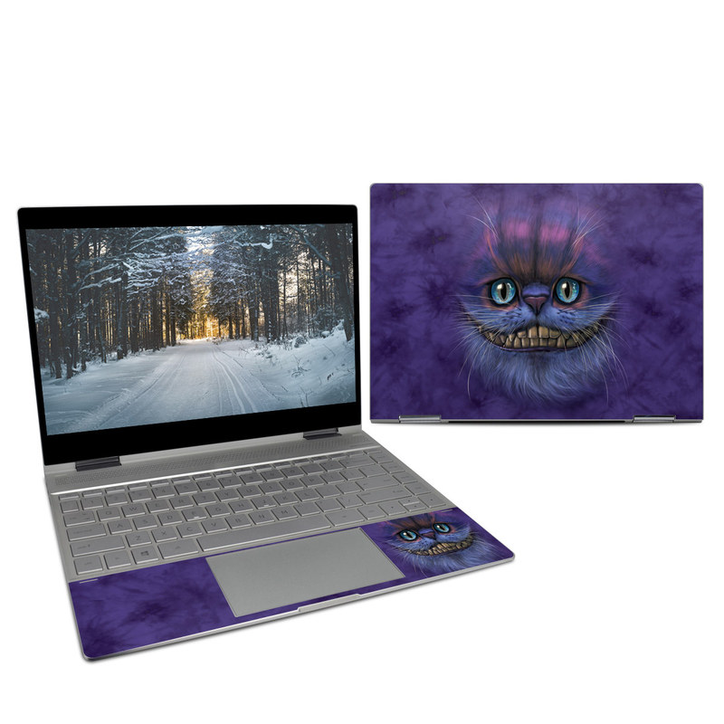 HP Spectre x360 13-inch Skin design of Cat, Whiskers, Felidae, Small to medium-sized cats, Snout, Eye, Illustration, Ojos azules, Black cat, Carnivore with purple, blue colors