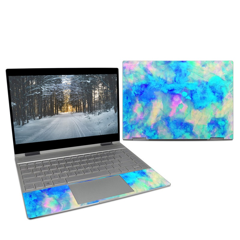 HP Spectre x360 13-inch Skin design of Blue, Turquoise, Aqua, Pattern, Dye, Design, Sky, Electric blue, Art, Watercolor paint with blue, purple colors
