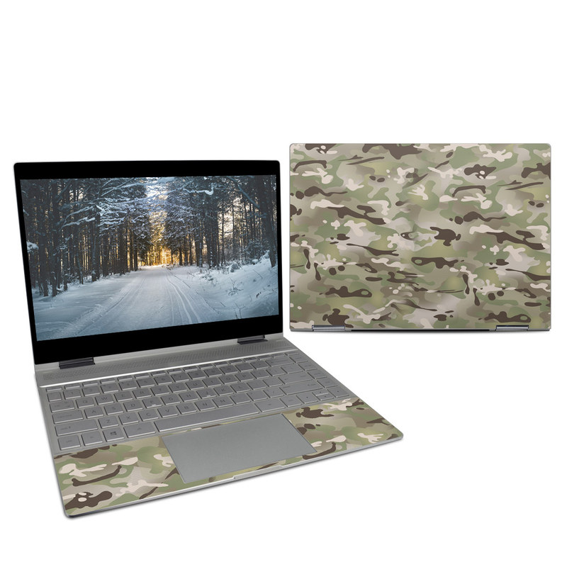 HP Spectre x360 13-inch Skin design of Military camouflage, Camouflage, Pattern, Clothing, Uniform, Design, Military uniform, Bed sheet with gray, green, black, red colors