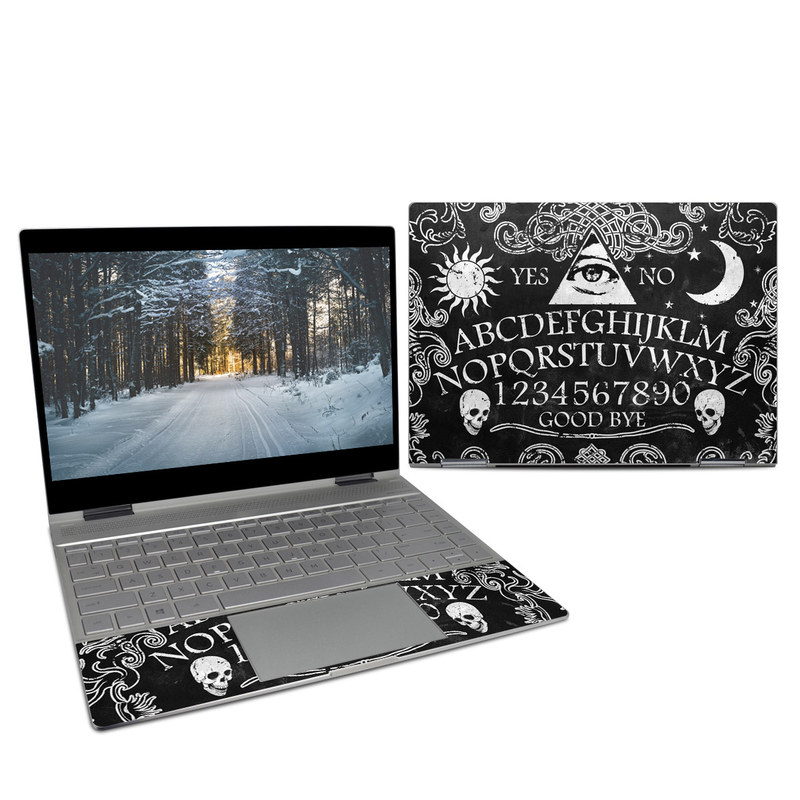 HP Spectre x360 13-inch Skin design of Text, Font, Pattern, Design, Illustration, Headpiece, Tiara, Black-and-white, Calligraphy, Hair accessory with black, white, gray colors