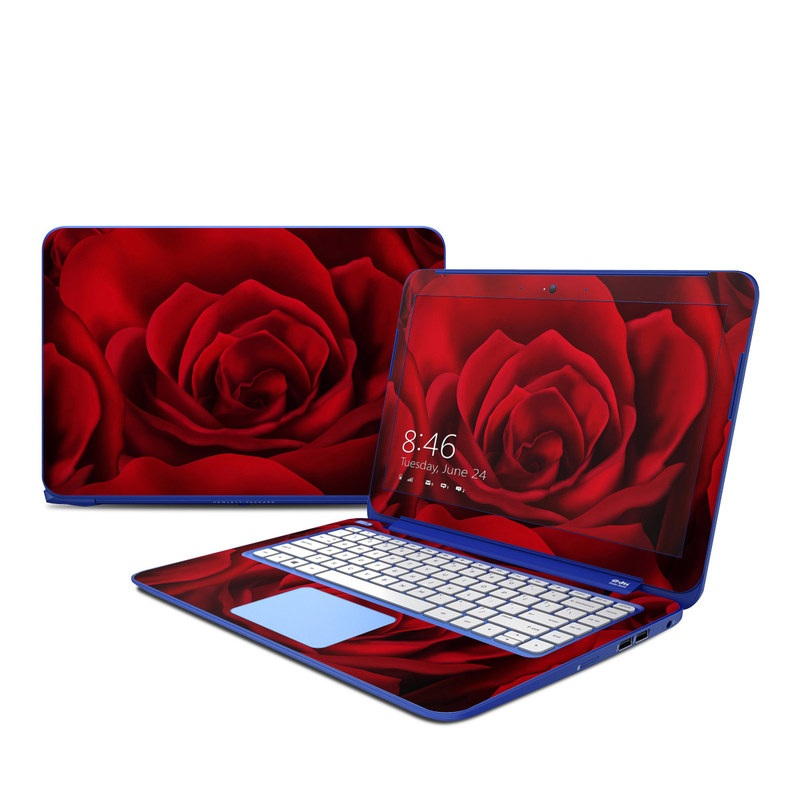 HP Stream 13 Skin design of Red, Garden roses, Rose, Petal, Flower, Nature, Floribunda, Rose family, Close-up, Plant with black, red colors
