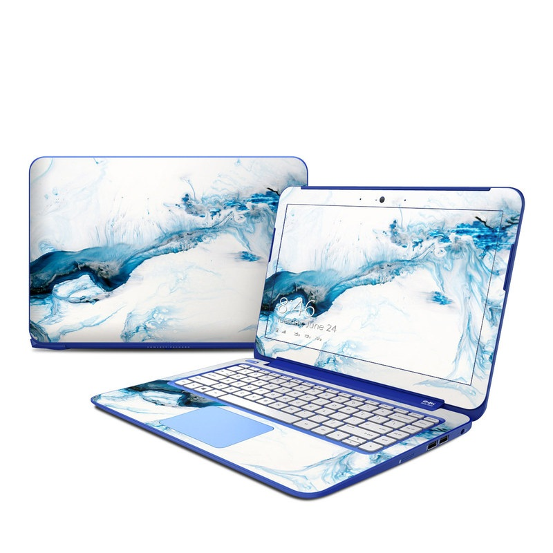 HP Stream 13 Skin design of Glacial landform, Blue, Water, Glacier, Sky, Arctic, Ice cap, Watercolor paint, Drawing, Art with white, blue, black colors