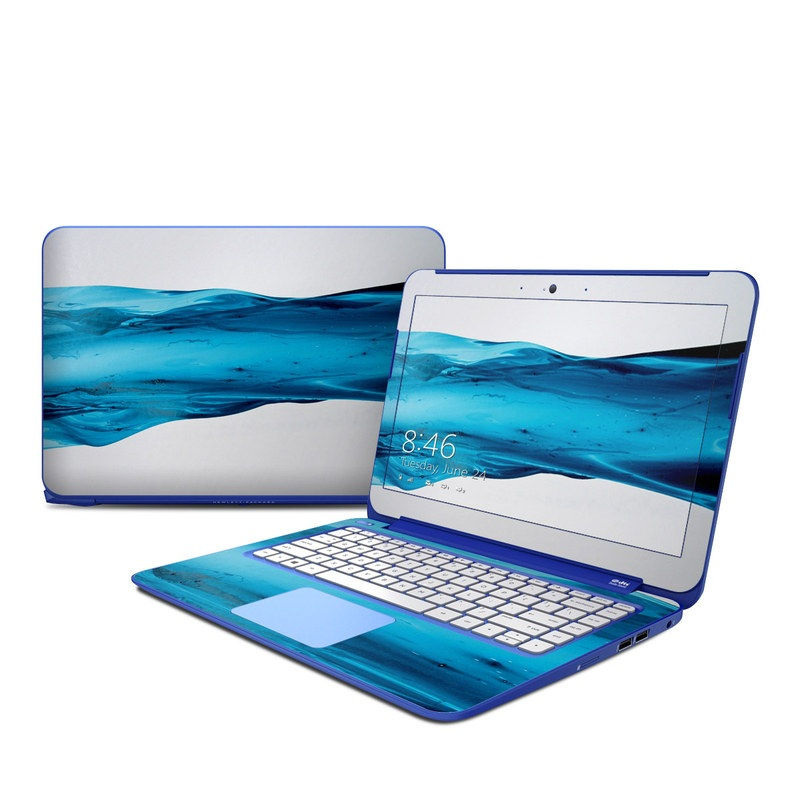 HP Stream 13 Skin design of Blue, Water, Aqua, Turquoise, Azure, Liquid, Wave, Fluid, Glass, Electric blue with gray, blue, black colors