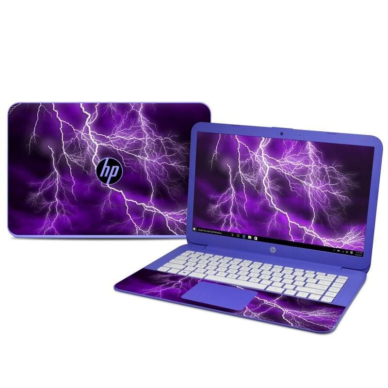 HP Stream 14 Skin design of Thunder, Lightning, Thunderstorm, Sky, Nature, Purple, Violet, Atmosphere, Storm, Electric blue with purple, black, white colors