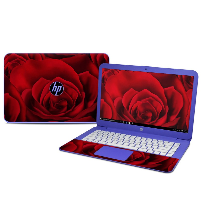 HP Stream 14 Skin design of Red, Garden roses, Rose, Petal, Flower, Nature, Floribunda, Rose family, Close-up, Plant with black, red colors