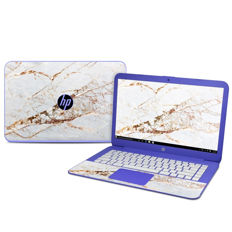 HP Stream 14 Skin design of White, Branch, Twig, Beige, Marble, Plant, Tile with white, gray, yellow colors