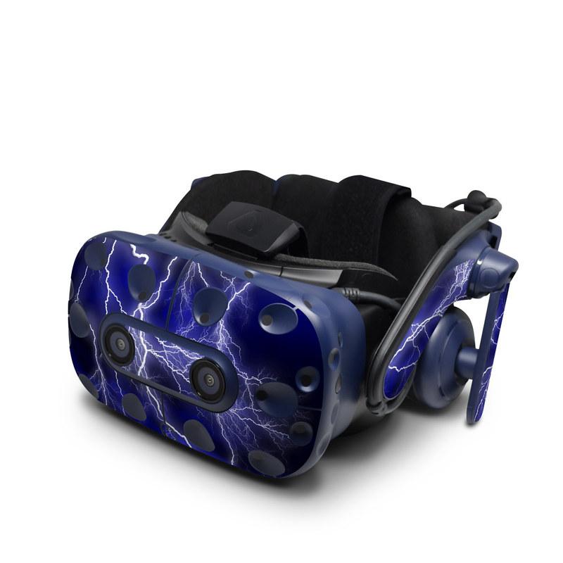 HTC VIVE Pro Skin design of Thunder, Lightning, Thunderstorm, Sky, Nature, Electric blue, Atmosphere, Daytime, Blue, Atmospheric phenomenon with blue, black, white colors