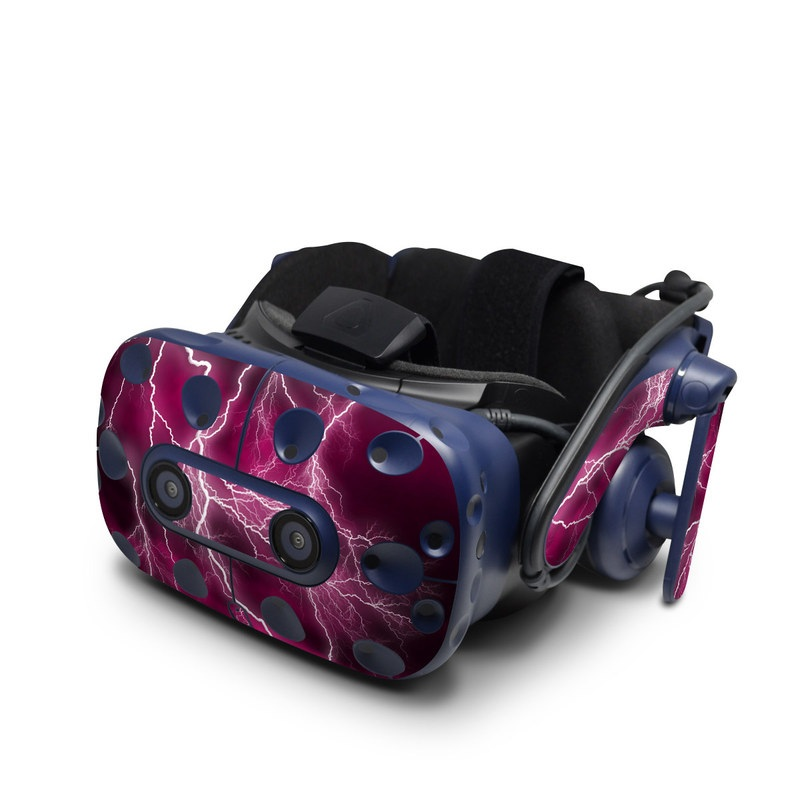 HTC VIVE Pro Skin design of Thunder, Lightning, Thunderstorm, Sky, Nature, Purple, Red, Atmosphere, Violet, Pink with pink, black, white colors