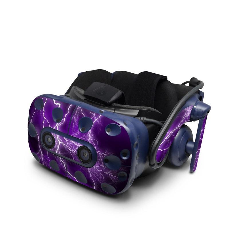 HTC VIVE Pro Skin design of Thunder, Lightning, Thunderstorm, Sky, Nature, Purple, Violet, Atmosphere, Storm, Electric blue with purple, black, white colors