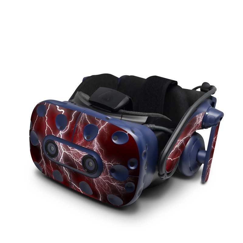 HTC VIVE Pro Skin design of Thunder, Thunderstorm, Lightning, Red, Nature, Sky, Atmosphere, Geological phenomenon, Lighting, Atmospheric phenomenon with red, black, white colors