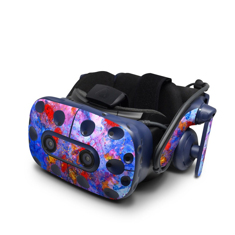 HTC VIVE Pro Skin design of Blue, Watercolor paint, Red, Colorfulness, Acrylic paint, Modern art, Painting, Art, Paint, Visual arts with blue, red, purple, pink colors