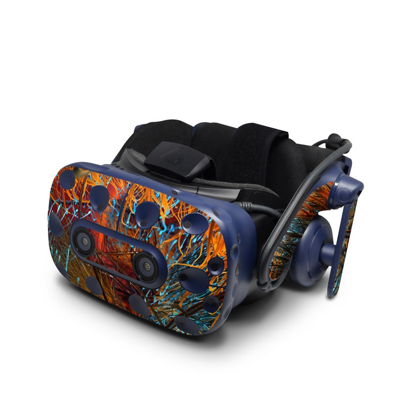 HTC VIVE Pro Skin design of Orange, Tree, Electric blue, Organism, Fractal art, Plant, Art, Graphics, Space, Psychedelic art with orange, blue, red, yellow, purple colors