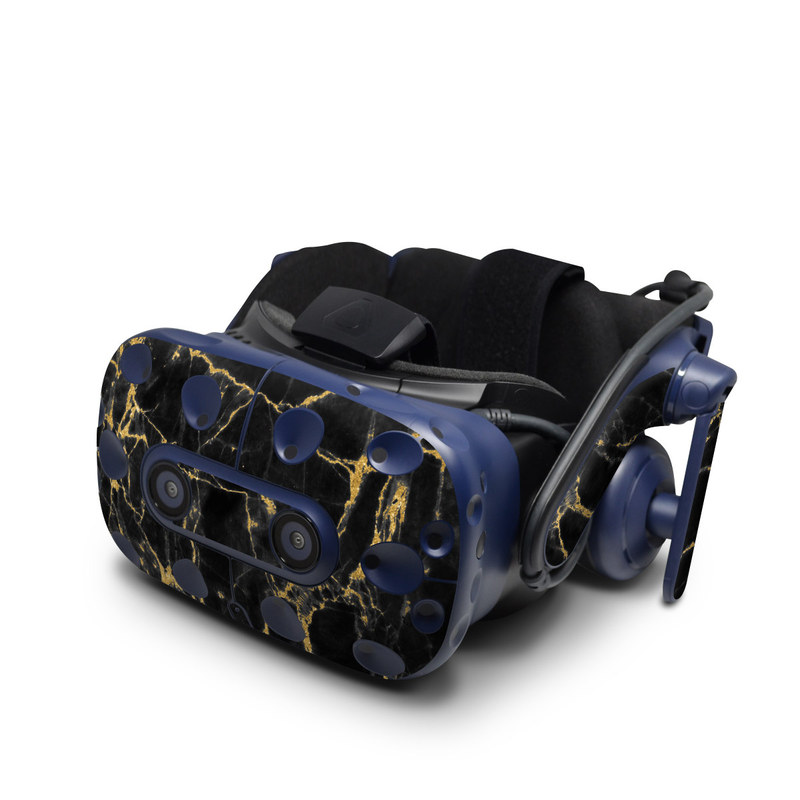 HTC VIVE Pro Skin design of Black, Yellow, Water, Brown, Branch, Leaf, Rock, Tree, Marble, Sky with black, yellow colors