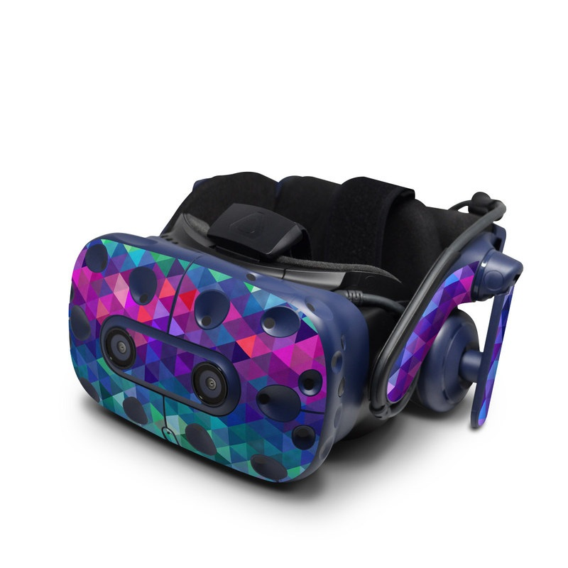 HTC VIVE Pro Skin design of Purple, Violet, Pattern, Blue, Magenta, Triangle, Line, Design, Graphic design, Symmetry with blue, purple, green, red, pink colors