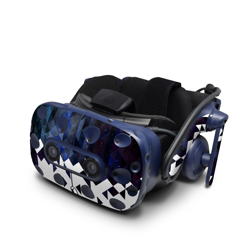 HTC VIVE Pro Skin design of Text, Pattern, Graphic design, Font, Purple, Design, Line, Triangle, Logo, Graphics with black, blue, white colors