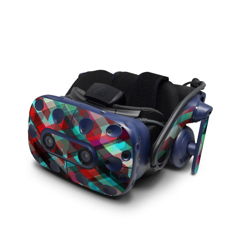 HTC VIVE Pro Skin design of Green, Pattern, Magenta, Purple, Orange, Line, Design, Textile, Plaid with black, red, green, blue, gray colors