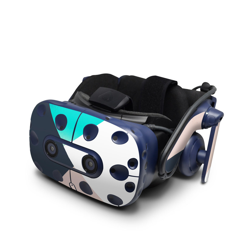 HTC VIVE Pro Skin design of Blue, Turquoise, Aqua, Line, Triangle, Design, Material property, Graphic design, Pattern, Architecture with black, white, brown, blue colors