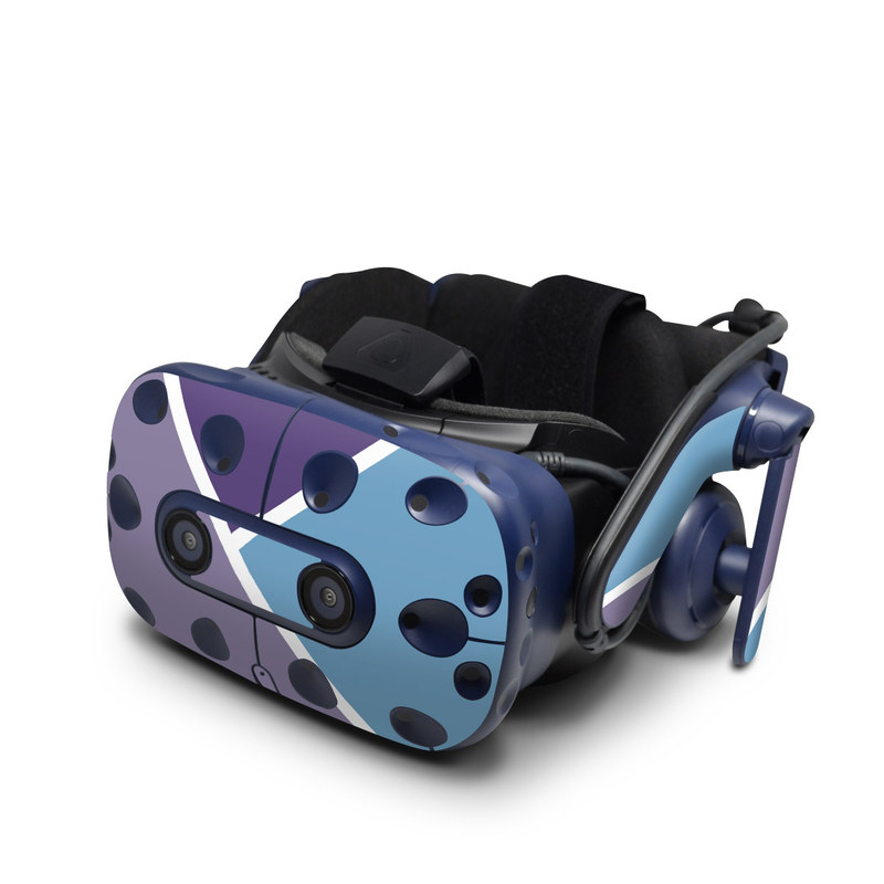 HTC VIVE Pro Skin design of Violet, Purple, Turquoise, Line, Pattern, Design, Graphic design, Font, Triangle, Magenta with white, blue, purple colors