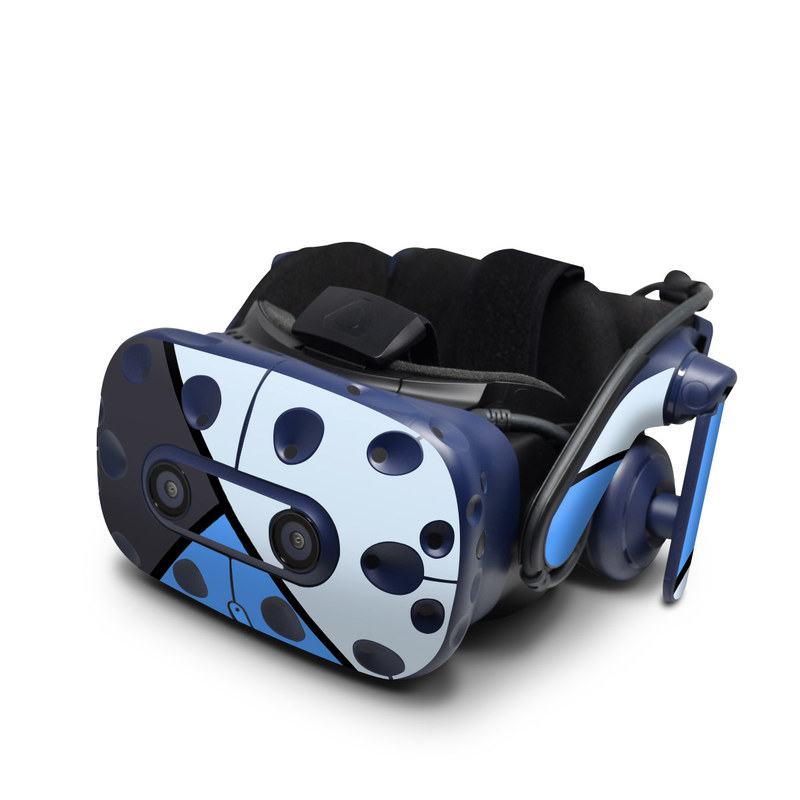 HTC VIVE Pro Skin design of Blue, Line, Cobalt blue, Triangle, Azure, Electric blue, Parallel, Symmetry, Font with blue, gray, black colors