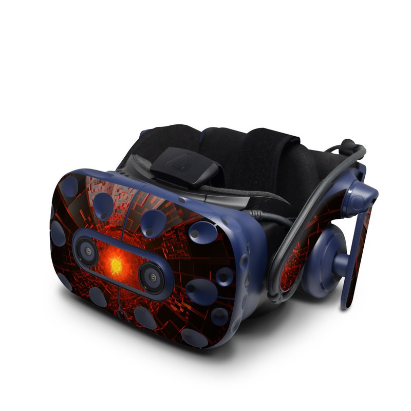HTC VIVE Pro Skin design of Red, Fractal art, Light, Circle, Design, Art, Graphics, Symmetry, Pattern, Space with black, red colors