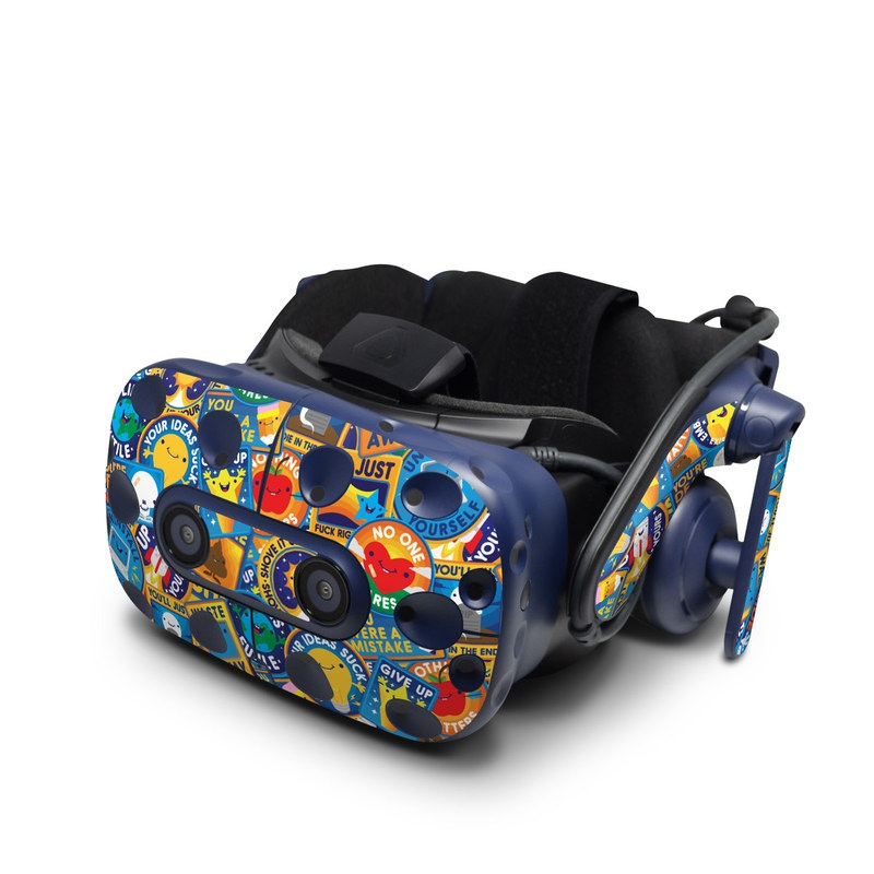 HTC VIVE Pro Skin design of Pattern, Visual arts, Design, Art, Mosaic, Psychedelic art with blue, yellow, orange, white, green, red, gray colors