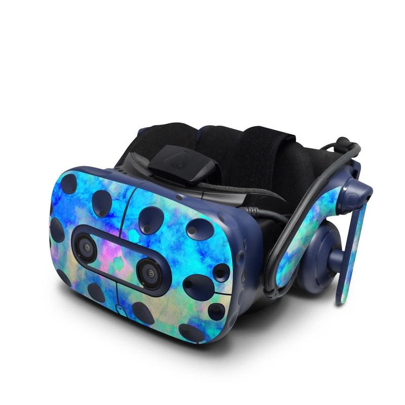 HTC VIVE Pro Skin design of Blue, Turquoise, Aqua, Pattern, Dye, Design, Sky, Electric blue, Art, Watercolor paint with blue, purple colors