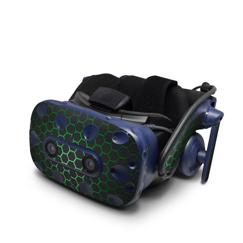HTC VIVE Pro Skin design with black, gray, green colors