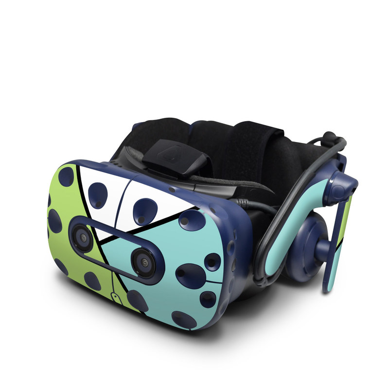 HTC VIVE Pro Skin design of Green, Line, Blue, Triangle, Design, Parallel, Pattern, Graphic design, Slope with white, black, green, blue colors
