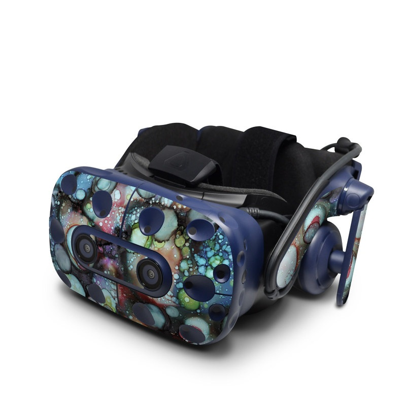 HTC VIVE Pro Skin design of Water, Turquoise, Organism, Close-up, Drop, Macro photography, Photography, Circle, Art, Fashion accessory with black, gray, blue, red, green, purple, orange colors