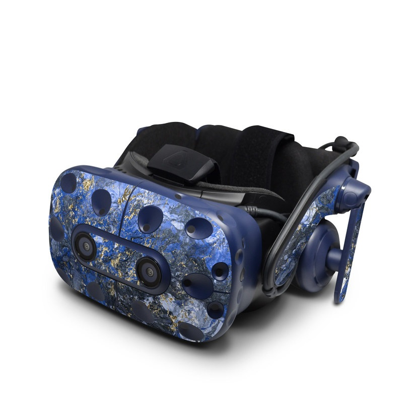HTC VIVE Pro Skin design of Blue, Water, Cobalt blue, Rock, Painting, Geology, Electric blue, Mineral, Pattern, Acrylic paint with black, blue, yellow, white, gray colors
