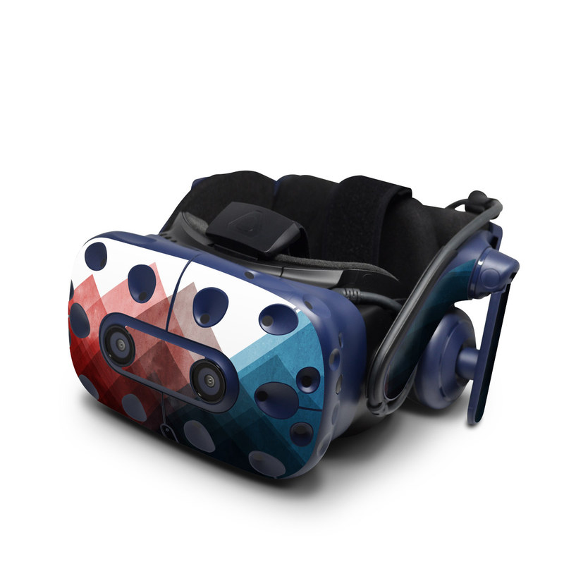 HTC VIVE Pro Skin design of Blue, Red, Sky, Pink, Line, Architecture, Font, Graphic design, Colorfulness, Illustration with red, pink, blue colors