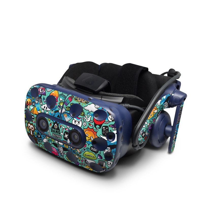 HTC VIVE Pro Skin design of Cartoon, Art, Pattern, Design, Illustration, Visual arts, Doodle, Psychedelic art with black, blue, gray, red, green colors