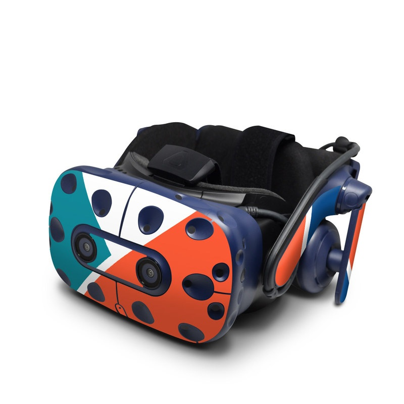 HTC VIVE Pro Skin design of Blue, Orange, Line, Turquoise, Flag, Electric blue, Pattern, Parallel with white, blue, red, orange, green colors