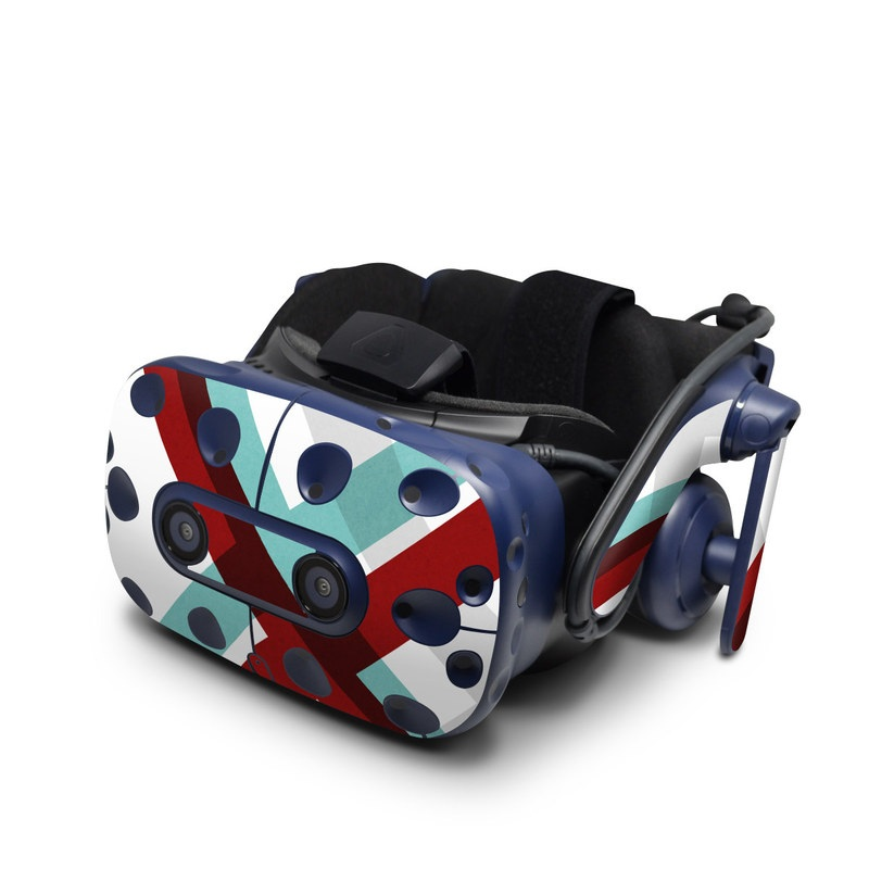 HTC VIVE Pro Skin design of Turquoise, Line, Pattern, Teal, Graphic design, Design, Flag, Font, Graphics, Parallel with red, blue, gray, white colors
